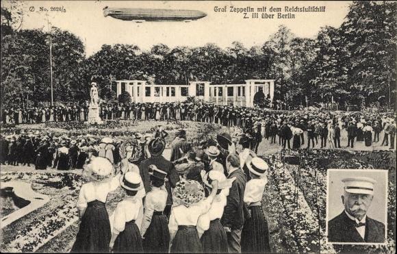 Ak Berlin Tiergarten, Graf Zeppelin mit dem Reichsluftschiff Z. III über Berlin, Graf Zeppelin
