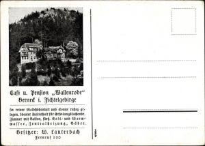 Ak Bad Berneck im Fichtelgebirge Oberfranken, Café und Pension Wallenrode, Besitzer W. Lauterbach