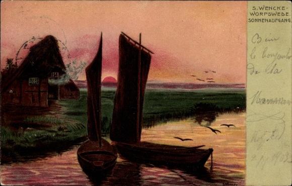 Künstler Ak Wencke, S., Worpswede in Niedersachsen, Sonnenaufgang, Boote, Reetdachhütte