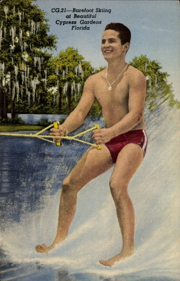 Ak Florida USA, Barefoot Skiiing at Cypress Gardens, Wasserskifahrer, Barfuß
