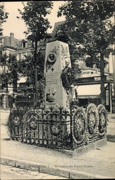 Ak Montretout Saint Cloud Hauts de Seine, Monument des Francs Tireurs