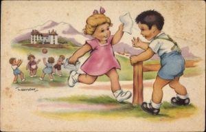 Künstler Ak Gougeon, T., Kinder spielen Ball, Mädchen rennt zu einem Jungen