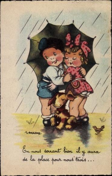 Künstler Ak Gougeon, T., Liebespaar umarmt sich im Regen, Hund, Spatz
