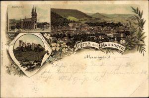 Litho Meiningen in Südthüringen, Stadtansichten, Blick auf die Kirche, Schloss Landsberg