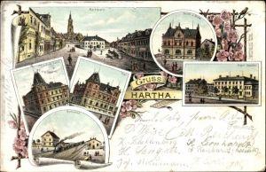 Litho Hartha Mittelsachsen, Marktplatz, Hotel zur Krone, Bahnhof, Post, Schule
