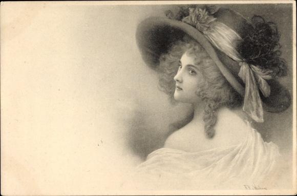 Künstler Ak Wichera, Junge Frau in Damenhut, Portrait, Munk 112