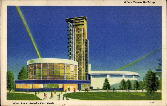 Ak New York City USA, World's Fair 1939, Glass Center Building