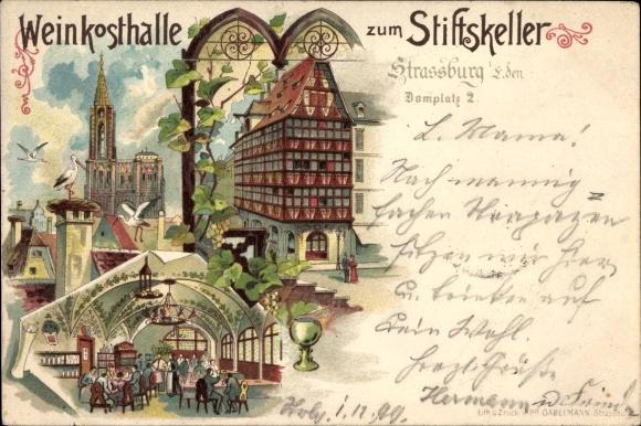 Litho Strasbourg Straßburg Elsass Bas Rhin, Weinkosthalle zum Stiftskeller, Domplatz 2