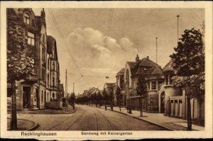 Ak Recklinghausen im Ruhrgebiet, Sandweg mit Kaisergarten, Gleise