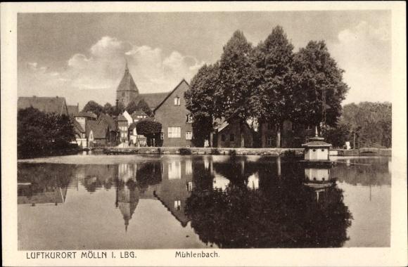Ak Mölln im Herzogtum Lauenburg, Partie am Mühlenbach, Teilansicht vom Ort