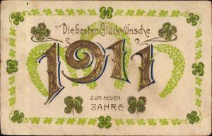 Präge Litho Glückwunsch Neujahr, Jahreszahl 1911, Kleeblätter, Hufeisen