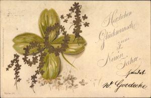 Präge Litho Glückwunsch Neujahr, Jahreszahl 1901, Kleeblätter