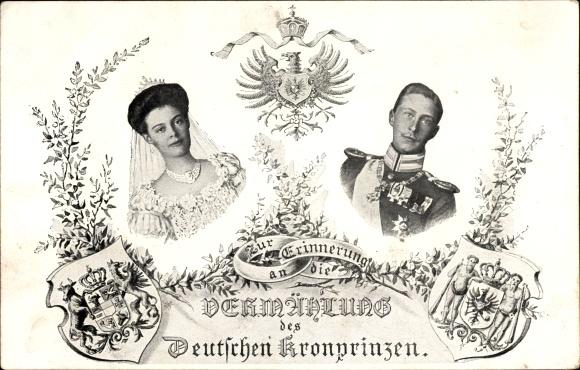 Wappen Ak Vermählung von Kronprinz Wilhelm von Preußen und Kronprinzessin Cecilie von Preußen