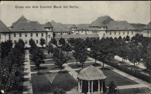 Ak Berlin Pankow Buch, Gartenpartie am Lazarett, Pavillon