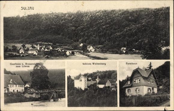 Ak Sulzau Starzach Baden Württemberg, Brauerei zum Löwen, Schloss Weitenburg, Forsthaus