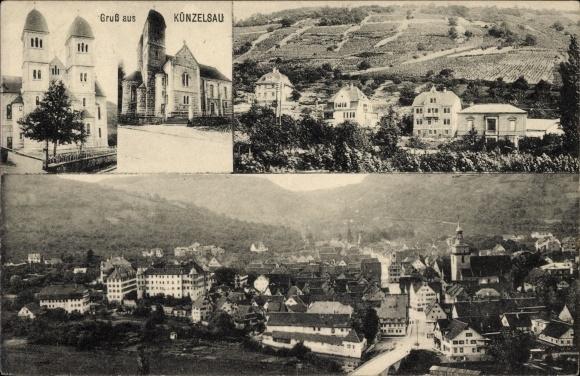 Ak Künzelsau im Hohenlohekreis Baden Württemberg, Gesamtansicht, Kirche, Villen