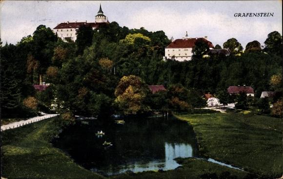 Ak Hrádek nad Nisou Grottau Reg. Reichenberg, Gasthof zum Steyrerfranzl, Teichpartie 0