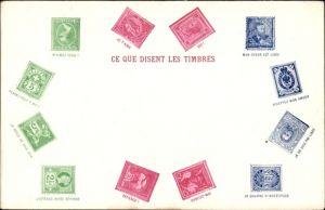 Briefmarken Ak Ce que disent les timbres, Je brule de vous voir, Mon coeur esl libre, je t'aime