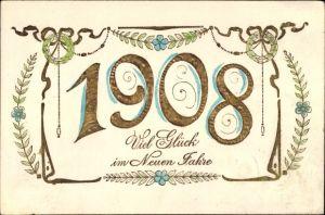 Präge Litho Glückwunsch Neujahr, Jahreszahl 1908, Siegeskränze