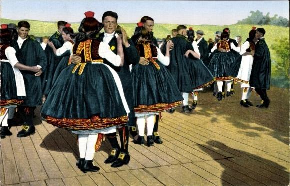 Ak Hessische Trachten, original Schwälmer Tanz