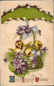 Präge Litho Glückwunsch Ostern, Küken in einem Korb, Weidenkätzchen, Veilchen