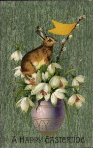 Präge Litho Glückwunsch Ostern, Osterhase auf einer Vase mit Schneeglöckchen, Weidenkätzchen
