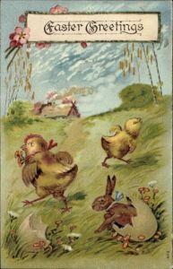 Präge Litho Glückwunsch Ostern, Osterhase schlüpft aus einem Ei, Küken