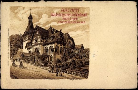 Litho Aachen in Nordrhein Westfalen, Blick auf das Waldschlösschen im Stadtwald, Inh. Georg Lüpke