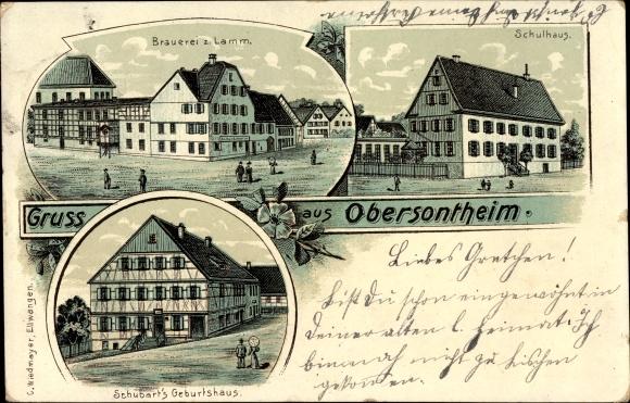 Litho Obersontheim im oberen Bühlertal, Brauerei zum Lamm, Schubart's Geburtshaus, Schulhaus