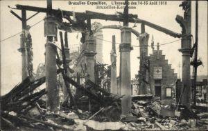 Ak Bruxelles Brüssel, Exposition 1910, Weltausstellung, L'Incendie, Bruxelles Kermesse