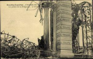 Ak Bruxelles Brüssel, Exposition 1910, Weltausstellung, L'Incendie, Le palais de la Belgique