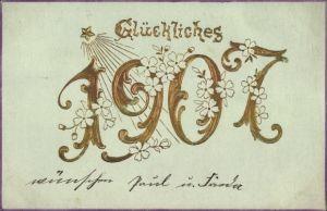 Präge Litho Glückwunsch Neujahr, Jahreszahl 1907, Blüten, Sternschnuppe
