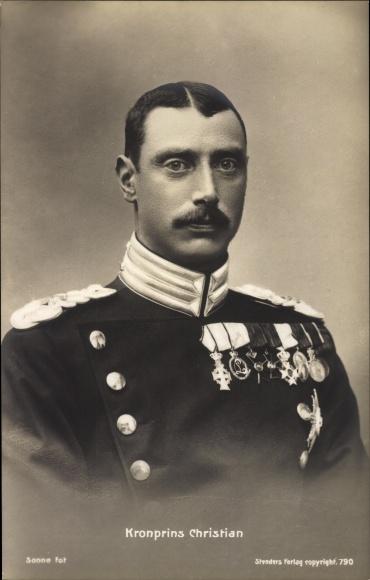 Ak Kronprins Christian, Kronprinz Christian X. von Dänemark, Portrait
