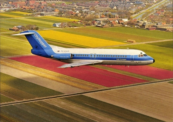 Ak Passagierflugzeug, NLM CityHopper, PH-CHD, Fokker F-28-4000 Fellowship