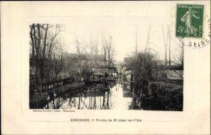 Ak Essonnes, Pointe de St. Jeand en l'Isle, Ortsansicht, Flusspartie, Brücke