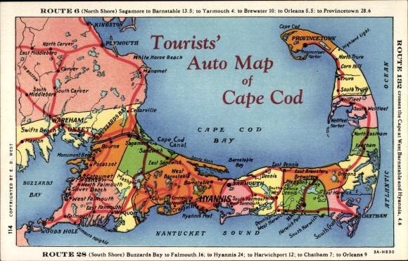 Landkarten Ak Cape Cod Massachusetts USA, Auto Map, Route 6, Route ...
