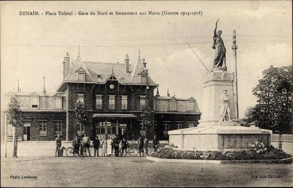 Ak Denain Nord, Place Tolstoi, Gare du Nord et Monument aux Morts