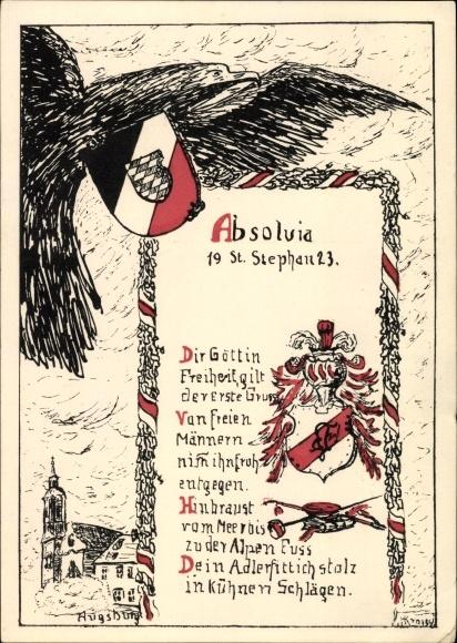 Studentika Ak Augsburg in Schwaben, Absolvia St. Stephan 1923, Adler, Wappen