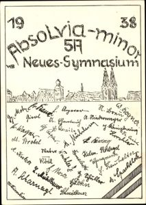 Studentika Ak Regensburg an der Donau Oberpfalz, Absolvia Minor 1938, Neues Gymnasium