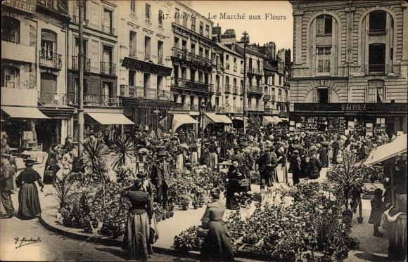 Ak Dieppe Seine Maritime, Le Marché aux Fleurs, Blumenmarkt
