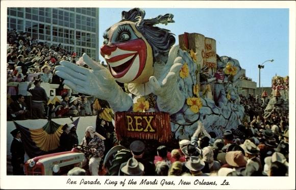 Ak New Orleans Louisiana USA, Rex Parade, King of the Mardi Gras, Float, Karnevalsumzug