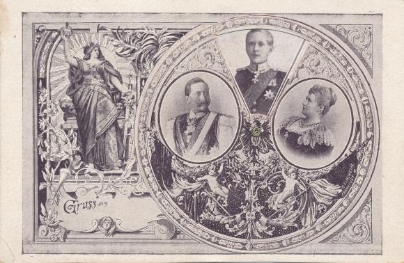 Mechanische Ak Deutsches Kaiserhaus, Kronprinz Wilhelm von Preußen, Germania