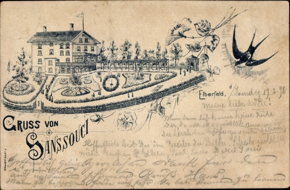 Litho Elberfeld Wuppertal in Nordrhein Westfalen, Gruß von Sanssouci