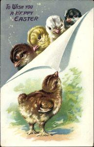 Präge Litho Glückwunsch Ostern, Fünf Küken in verschiedenen Farben, Tuck 112