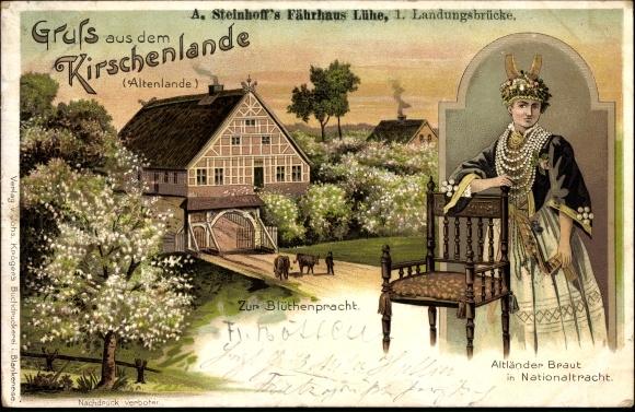 Litho Lühe Jork im Kreis Stade, A. Steinhoff's Fährhaus, Zur Blütenpracht, Altländer Braut in Tracht