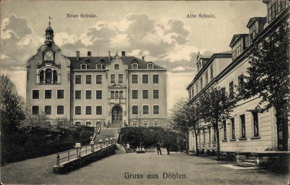 Ak Döhlen Freital in Sachsen, Neue und Alte Schule