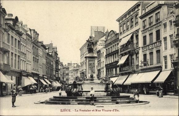 Ak Liège Lüttich Wallonien, La Fontaine et Rue Vinave d'Ile, Brunnen, Geschäfte
