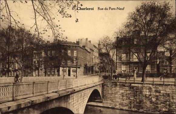 Ak Charleroi Wallonien Hennegau, Rue du Pont Neuf, Brücke