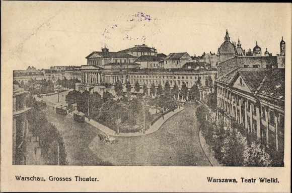 Ak Warszawa Warschau Polen, Teatr Wielki, Straßenpartie am Großen Theater