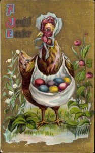 Präge Litho Glückwunsch Ostern, Huhn mit Haube und Schürze voll bunter Ostereier